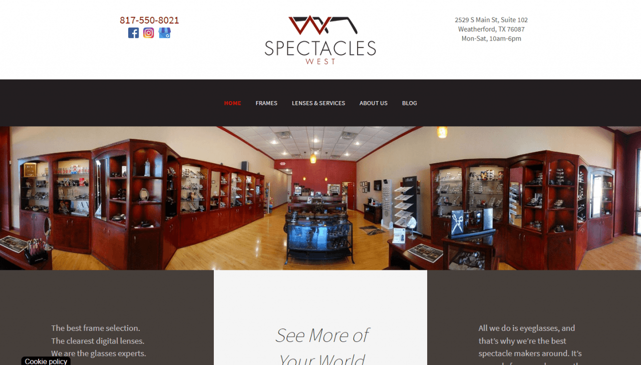 spectacles_west_home_page_screenshot